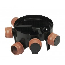 110mm Large Inspection Chamber 450mm Diameter 270mm deep with Five Flexible 110mm Inlets supplied with four socket plugs