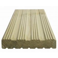 32 x 150mm Grooved Reeded Decking 4.8mt nominal size (27 x 144) Treated