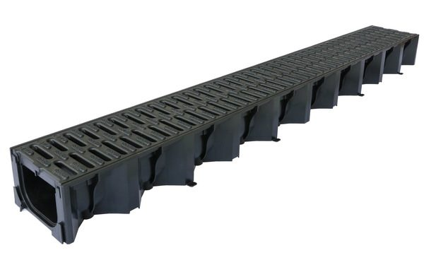 Aco 1metre Black Polypropylene Drianage Channel 125mm x 80mm wide with Black Grille