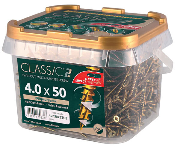 5mm x 50mm (10 x 2) Classic C2 Screw Tub 600