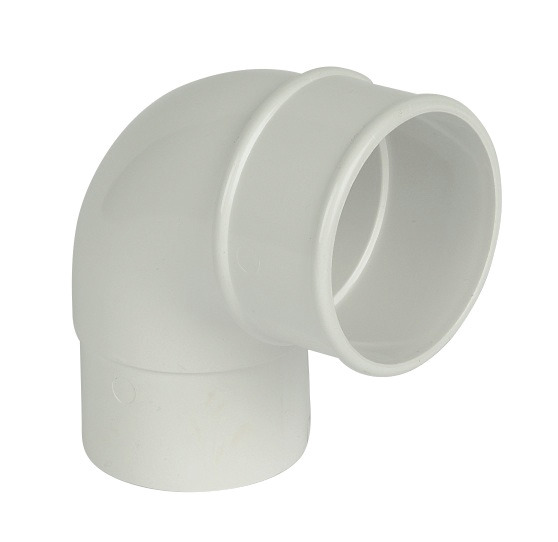 68mm White Round Downpipe Offset Bend 92.5°