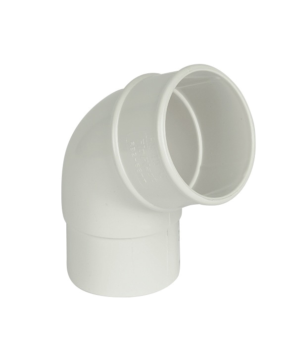 68mm White Round Downpipe Offset Bend 112.5°