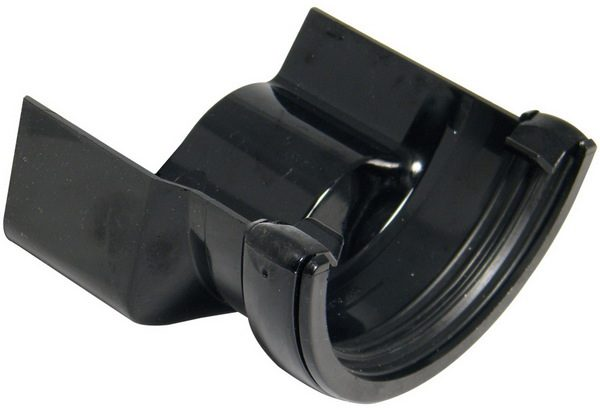 Half Round Black Gutter Adaptor to Cast Ogee - Left Hand