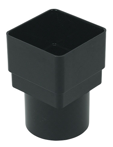 Square Black Down Pipe Adaptor to 68mm Round Down Pipe