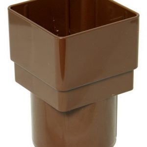 Square Brown Down Pipe Adaptor to 68mm Round Down Pipe