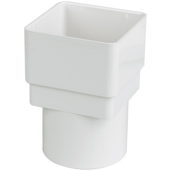 Square White Down Pipe Adaptor to 68mm Round Down Pipe