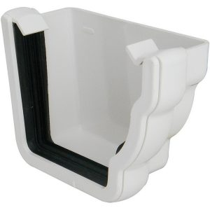 Niagara Ogee White Gutter External Stopend Right Hand