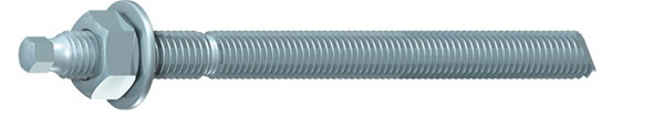 M10 x 130mm threaded stud with nut and washer in BZP steel. Pack of ten